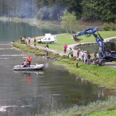Travaux de nettoyage du lac
