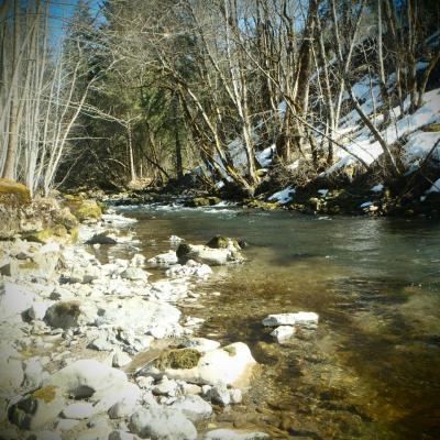 Quelques névés aux bords de la rivière